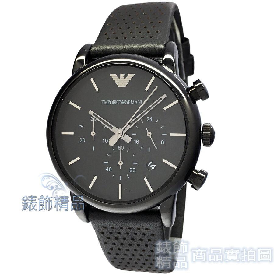 【錶飾精品】ARMANI錶 亞曼尼表 三眼計時 日期 黑面黑皮帶男錶AR1737原廠正品 禮物