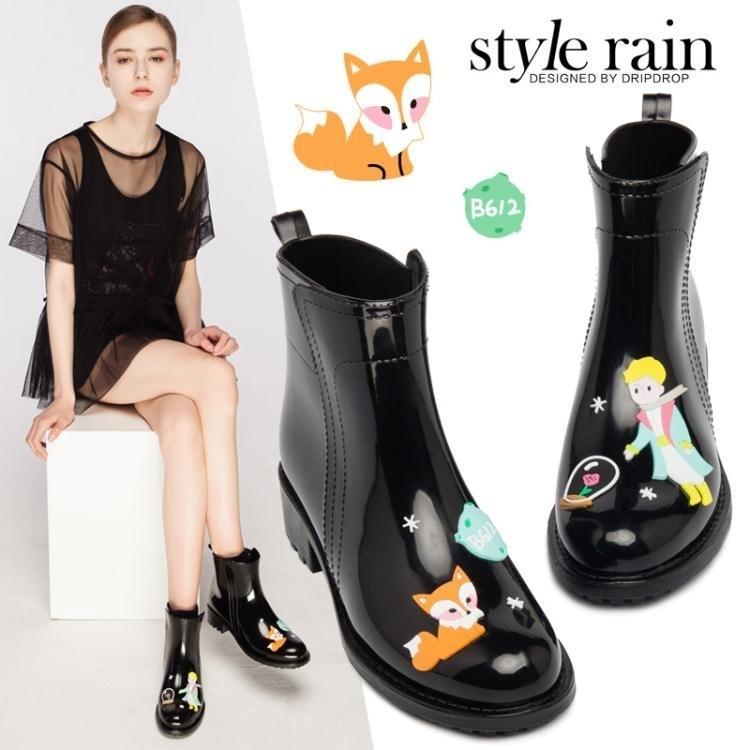 時尚手繪風女式低筒雨靴水靴水鞋膠鞋雨鞋