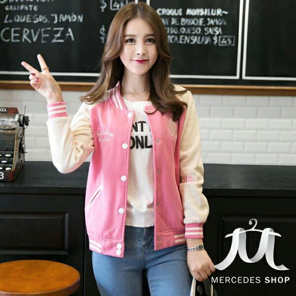 梅西蒂絲Mercedes Shop:《全店75折》中大尺碼青春亮色夾克棒球外套(S-3XL,4色)-梅西蒂絲(現貨+預購)