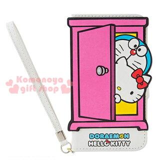 〔小禮堂〕KittyX哆啦A夢 iPhone6 皮質掀蓋式裝飾殼《白.探頭.任意門》