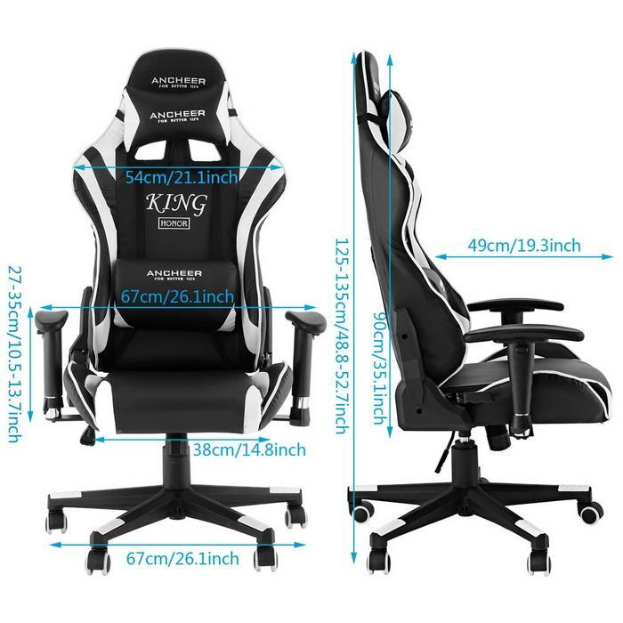 Office Chair with Armrests Ergonomic PU Padded High-Back Executive 5