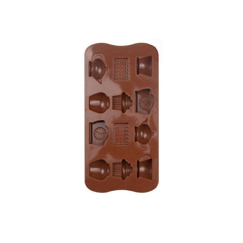 休閒時光鬧鐘茶壺12格 餅乾巧克力蛋糕 矽膠模具製冰盒手工皂模具【AF120】《約翰家庭百貨 好窩生活節 1