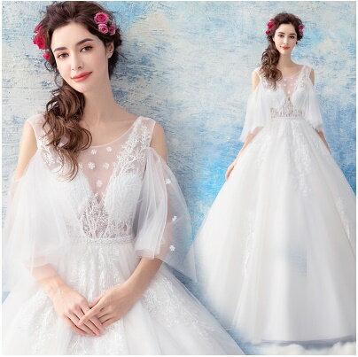 天使嫁衣:天使嫁衣【AE8171】挖肩水袖性感透視V領齊地白紗禮服˙預購訂製款