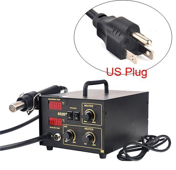 Latest 2in1 SMD Soldering Rework Station Hot Air Iron 852D+ 5Tips ESD PLCC BGA US Plug 1