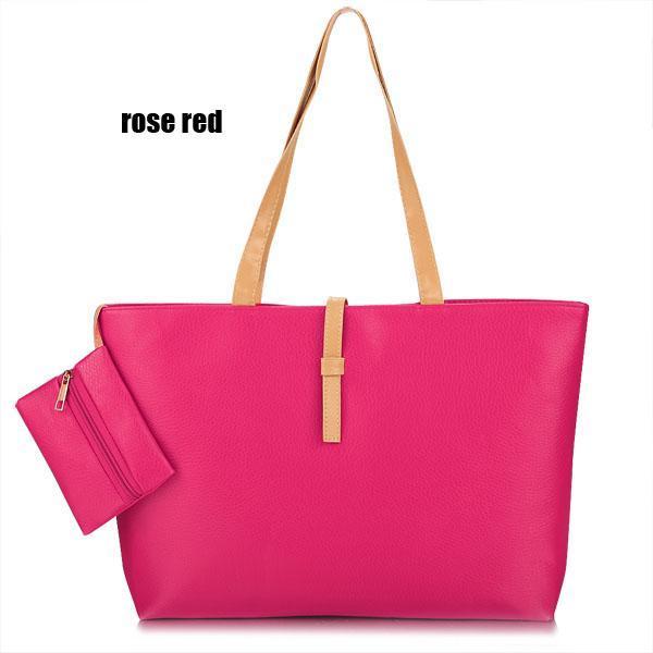 Synthetic Leather Solid Shoulder Tote Bag Handbag 3