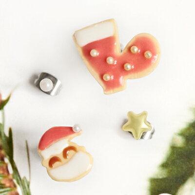〔APM飾品〕日本Gargle 聖誕老人的餅乾派對耳環組 (抗過敏) (聖誕老人與紅襪) (聖誕樹與星星)