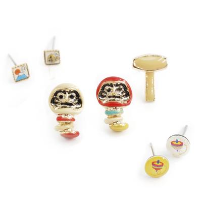 〔APM飾品〕 Gargle 文化之美:懷舊玩具不倒翁耳環組  白達摩   紅達摩