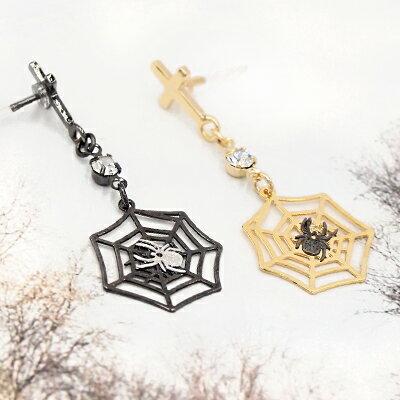 APM:〔APM飾品〕日本Gargle鬼屋探險蜘蛛絲耳環(抗過敏)(金色款)(黑色款)