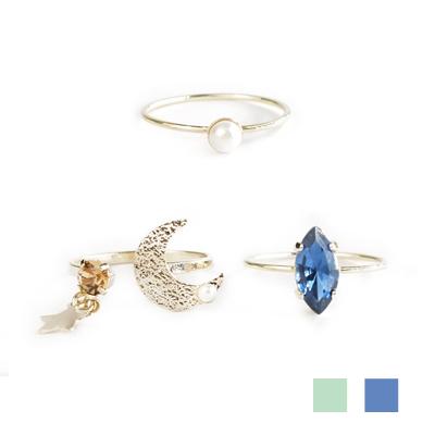 〔APM飾品〕 gargle 閃耀月色永恆之心戒指組  水藍款   深藍款