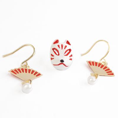 APM:〔APM飾品〕日本Gargle日本文化之美:傳藝歌舞面具耳環組(狐狸)
