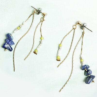〔APM飾品〕日本Kaza風仙之石輕盈彩韻耳環(抗過敏)(米色系)(藍色系)