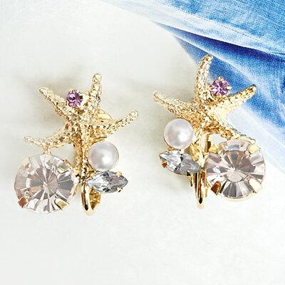 〔APM飾品〕 Kaza 汪洋神殿皇海星石耳環 ^(耳夾式^) ^(白色系^) ^(藍色系
