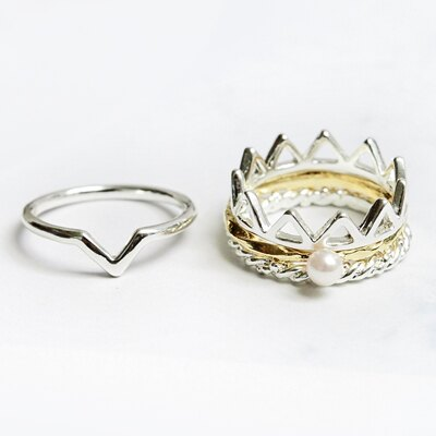 〔APM飾品〕 Kaza 皇座之夢絕美王冠戒指組 ^(金色系^) ^(銀色系^) ~  好