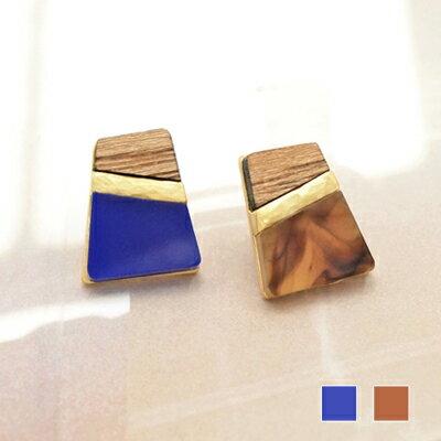 〔APM飾品〕日本Kaza幾何梯形磁磚拼貼耳環 (含耳夾款) (靛藍色) (琥珀色)