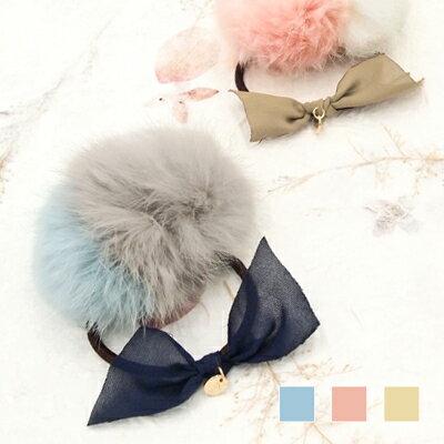 日本Kaza 雪紡蝴蝶雙色毛球髮圈