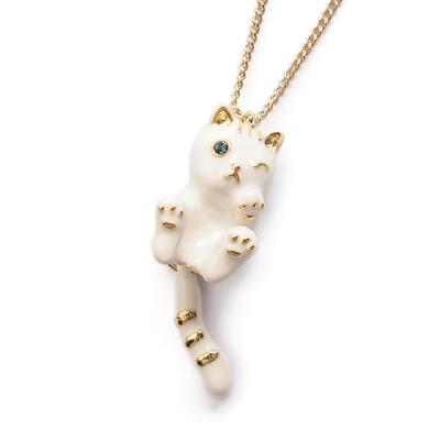 APM:〔APM飾品〕日本Kaza搖擺尾巴萌樣白貓項鍊