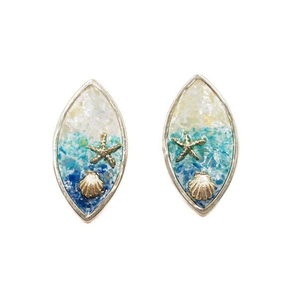〔APM飾品〕日本Kaza夏戀之海繽紛貝殼耳環(抗過敏)(藍色系)(彩色系)