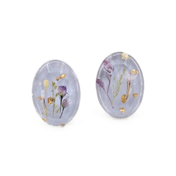 〔APM飾品〕日本Kaza浪漫粉調鄉村小花耳環(紫色系)(矽膠耳夾)(螺絲耳夾)
