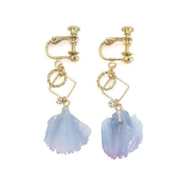 〔APM飾品〕日本Kaza愛情宣言幻彩花瓣耳環(藍色調)(含耳夾式)