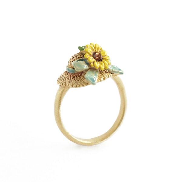 〔APM飾品〕日本Palnartpoc豔陽高照葵花草帽戒指