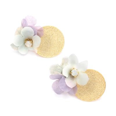 〔APM飾品〕日本Zoule春日晨金秘密花語耳環(紫色系)(耳針款)(耳夾款)(抗過敏)