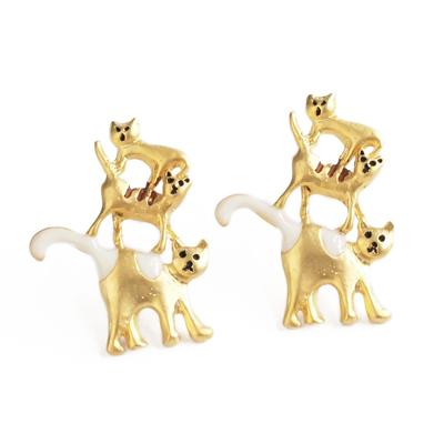 APM:〔APM飾品〕日本Luccica三隻小貓趣味疊疊樂耳環(抗過敏)(含耳夾款)