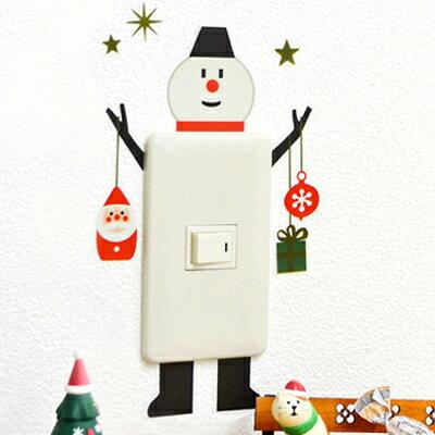 〔APM飾品〕溫馨團員歡樂聖誕派對-星光璀璨祥和夜晚插座壁紙 (祝福傳遞) (歡樂雪人)
