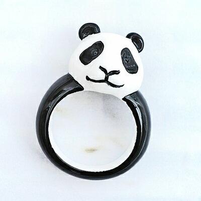 〔APM飾品〕日本Gargle頑皮笑顏逗趣貓熊戒指