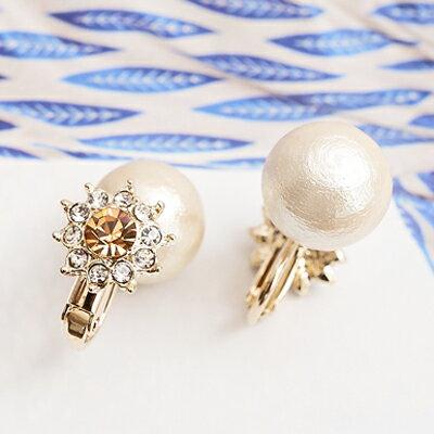 日本Kaza 晶光魅影珠光璀鑽耳環