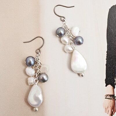 APM:〔APM飾品〕日本Kaza綺夢珍珠聖潔光暈耳環