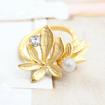 〔APM飾品〕日本Kaza幻化微風珠光玉葉戒指
