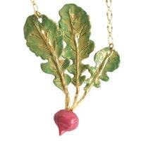 母親節禮物推薦〔APM飾品〕日本Brough Superior 鮮嫩綠葉紫紅蕪菁項鍊