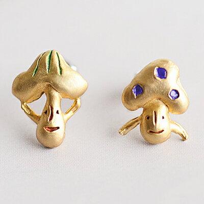 〔APM飾品〕日本Brough Superior 歡樂情誼蘑菇兄弟耳環