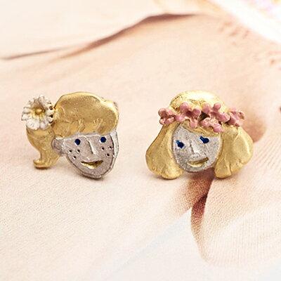 APM:〔APM飾品〕日本Palnartpoc浪漫春曲笑顏少女耳環(抗過敏)