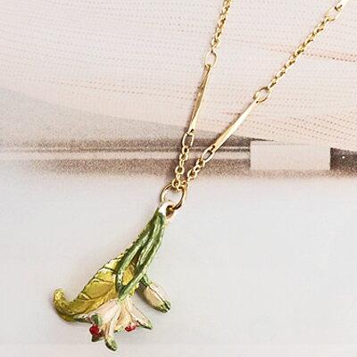 〔APM飾品〕日本 Palnart poc 天使呼喚淨白鐵線蓮項鍊