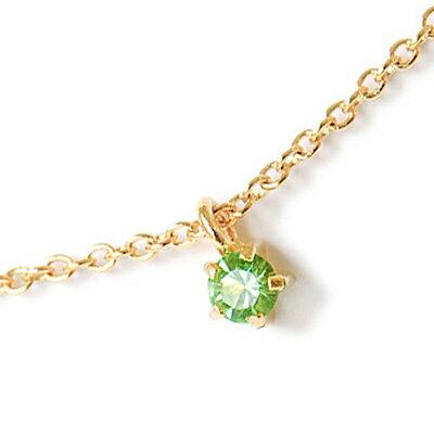 〔APM飾品〕日本Lilou 8月份誕生石色澤水晶玻璃項鍊 (橄欖石)