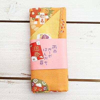 〔APM飾品〕日本Kurochiku 三層棉紗春日浪漫雙面手帕 (貓咪戲春) (春日暖雲) (綿羊迎春)