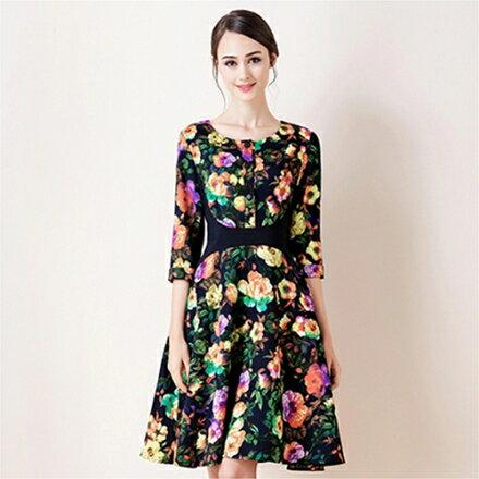 甜美大擺裙印花高腰七分袖連身裙(圖片色M~2XL)