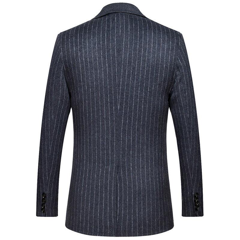 毛呢大衣西裝外套-條紋商務修身舒適男外套73wk29【獨家進口】【米蘭精品】 1