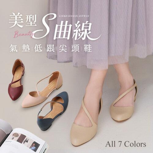 BONJOUR☆美型S曲線2cm氣墊低跟尖頭鞋Cushion heels【ZB0362】7色 0