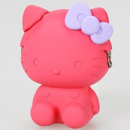 【真愛日本】150723000243D矽膠零錢包-KT桃紫結  三麗鷗 Hello Kitty 凱蒂貓   零錢包  造型包