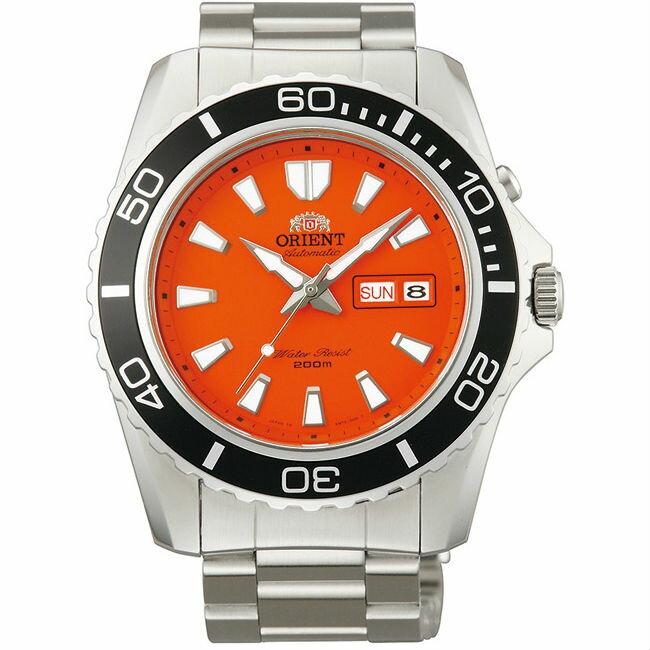 Orient 東方錶 ( FEM75001M) RESISTANT系列 200m潛水錶 鋼帶款 橘/43.4mm