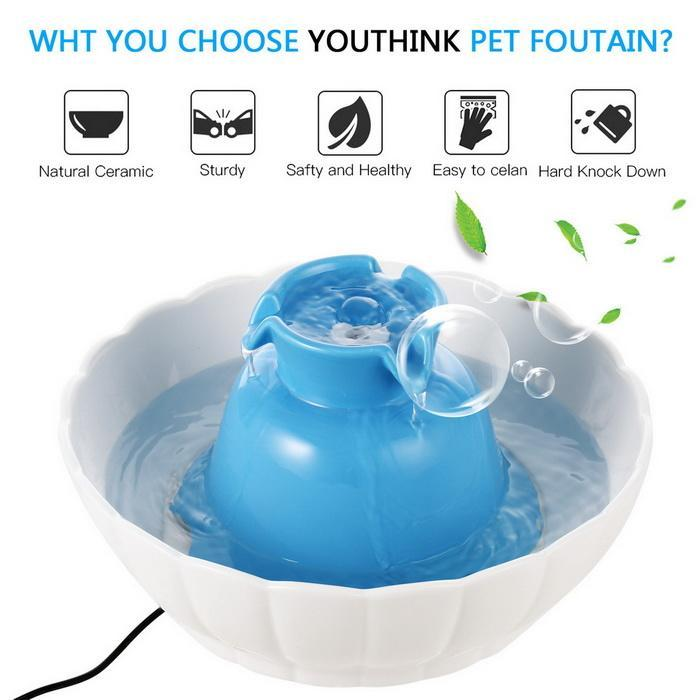 2.1L Pets Ceramic Watter Fountain for Dogs Cats Healthy Drinking Bowl Electric 1