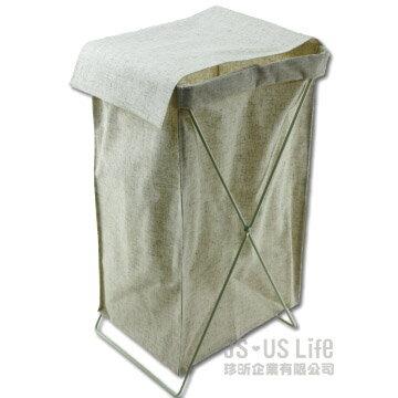 【珍昕】生活大師森棉麻感衣物收納籃洗衣籃收納箱(寬23x高56深30cm)