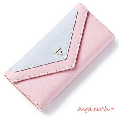 ^(大多有 ^)皮夾~AngelNaNa 韓簡約撞色 信封式 女長夾 零錢包~MA0182
