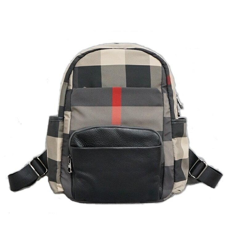 (M)BURBERRY紋防水布牛皮後背包 休閒包