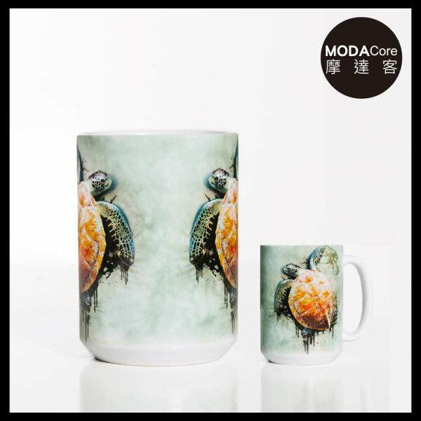 【摩達客】(預購)美國TheMountain爬行海龜圖案設計藝術馬克杯440ml