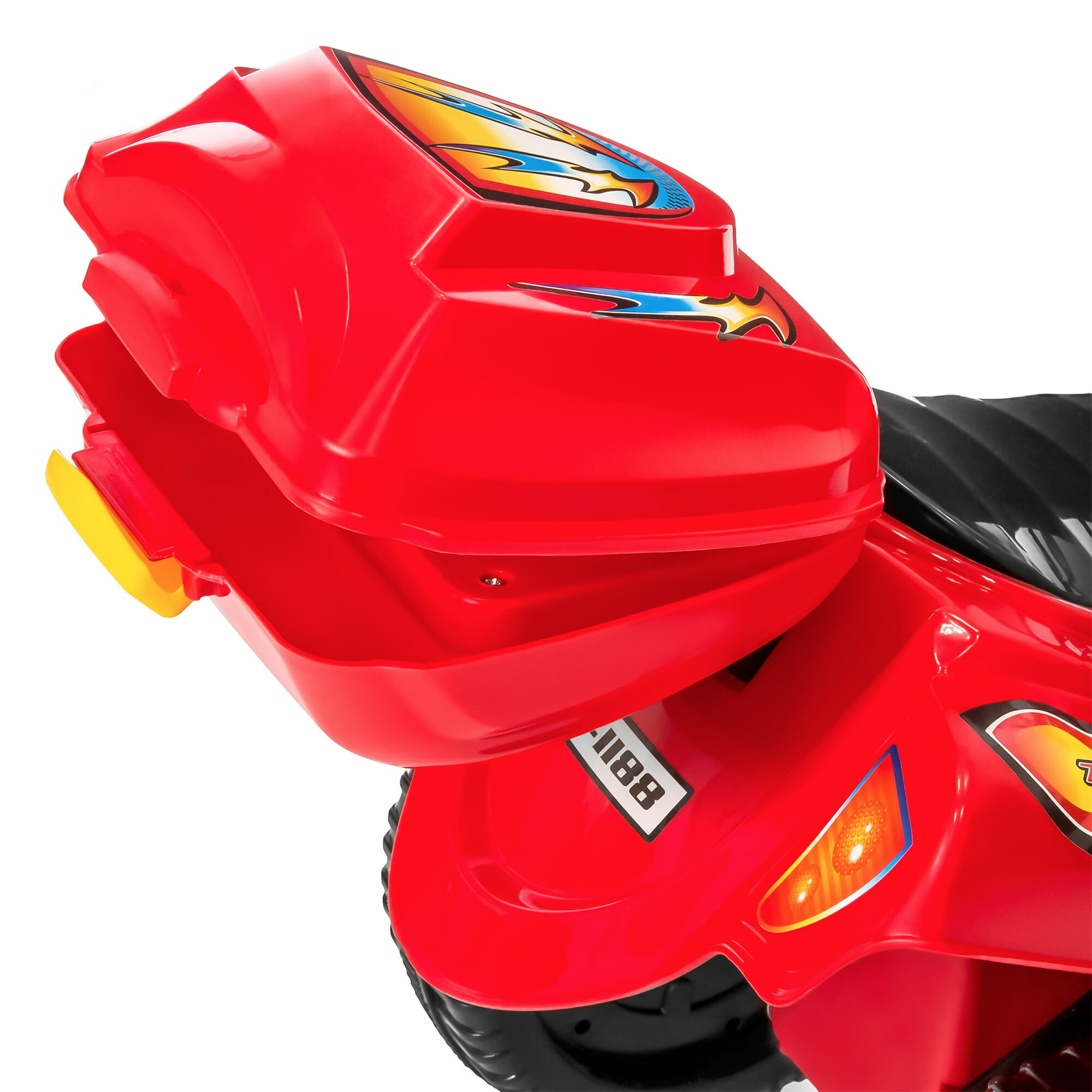 Best Choice Products 6V Kids Battery Powered 3-Wheel Motorcycle Ride-On Toy w/ LED Lights, Music, Horn, Storage - Red 3