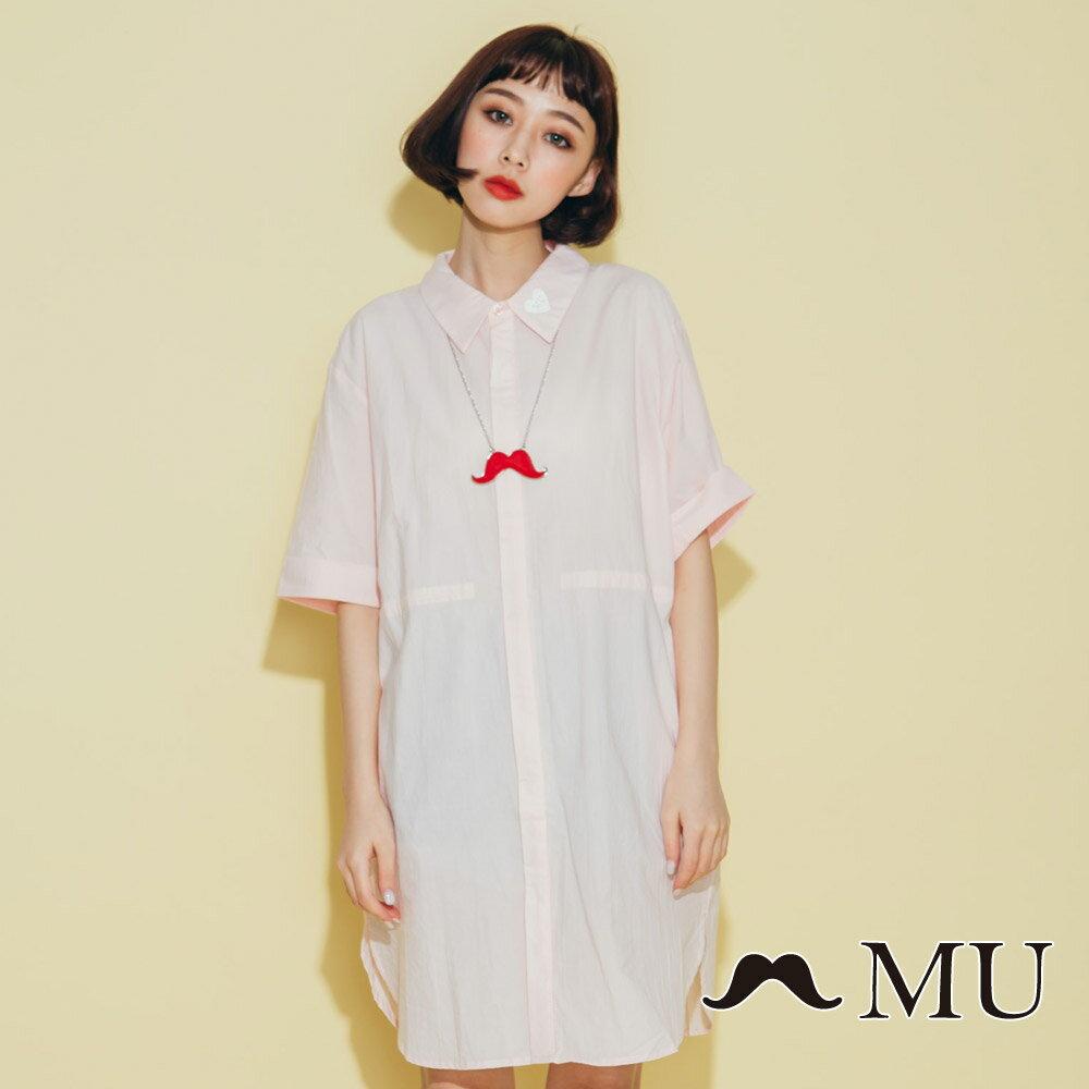【MU】領子愛心刺繡長版襯衫(2色)8323263 0