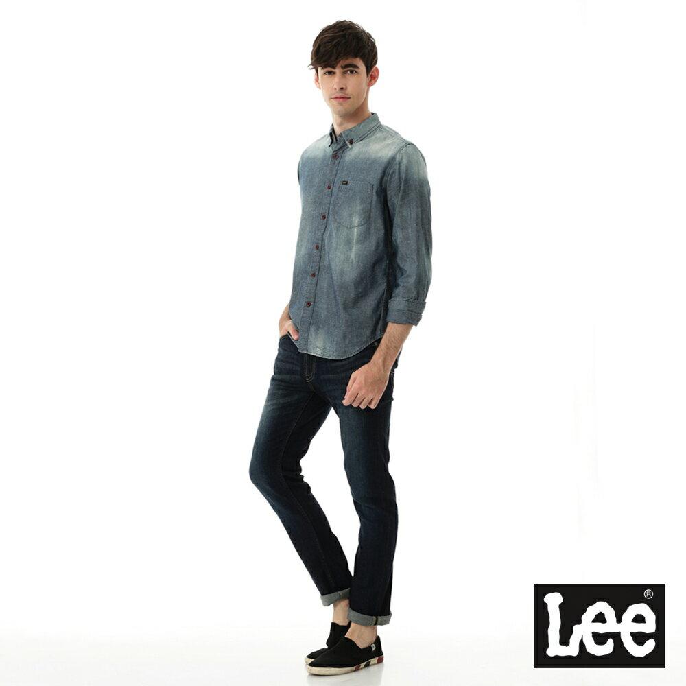 Lee 牛仔襯衫 棉點竹節深淺漸層 -男款-中古淺藍 6
